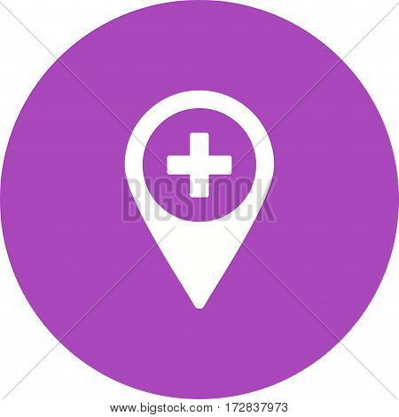 Hospital, road, city icon vector image. Can also be used for town. Suitable for use on web apps, mobile apps and print media.