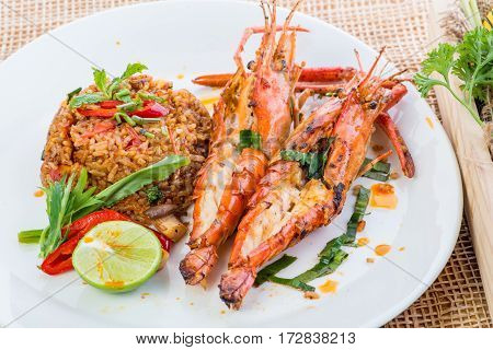 Asian Fried Rice Nasi Goreng With Chicken, Prawns, Egg And Vegetables, Thai Cuisine