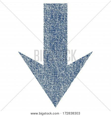 Arrow Down vector textured icon for overlay watermark stamps. Blue jeans fabric vectorized texture. Symbol with unclean design. Blue ink rubber seal stamp with fiber textile structure.