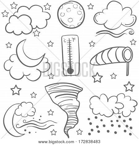 Doodle of weather object set vector art