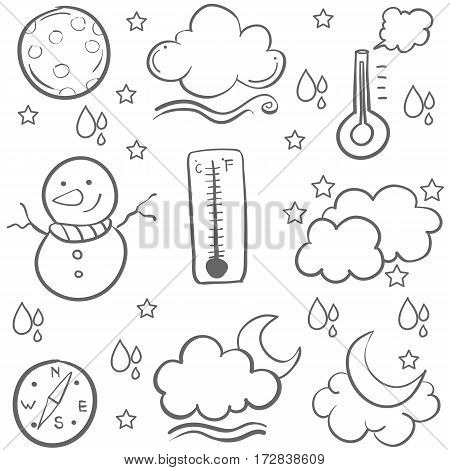 Doodle of weather set hand draw vector art