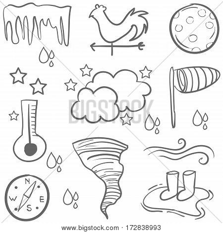 Doodle of weather with cloud wind vector art
