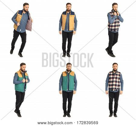 Full Body Picture Of A Casual Man In Jacket Collage