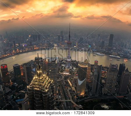 Shanghai China cityscape overlooking the Financial District and Huangpu River.