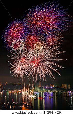 Pattaya display on the Mountain and Fireworks new year 2016 - 2017 night celebration at Pattaya beach Pattaya city Thailand
