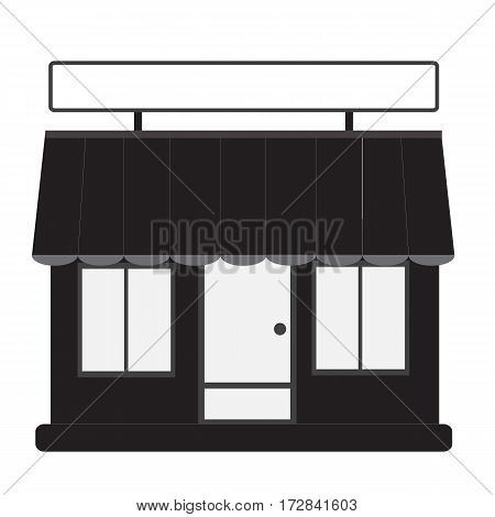 store front. shop and market, black  on white background.