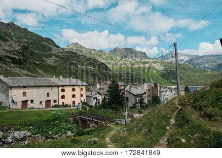 Small village in alpine landscape