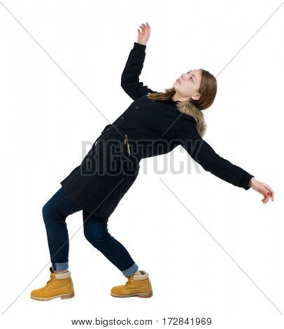 Balancing young woman in parka.  or dodge falling woman. Rear view people collection.  backside view of person.  Isolated over white background. Leaning back on the woman.