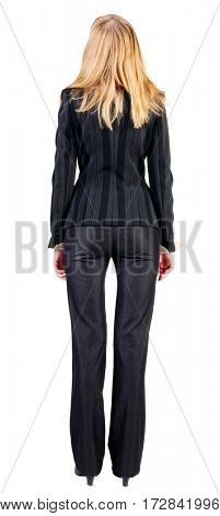 back view of standing beautiful blonde  business woman. Young girl in suit.  Rear view people collection.  backside view of person.  Isolated over white background.