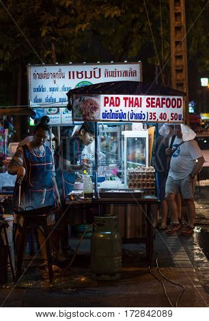 Chiang Mai / Thailand - Feb 2017:pad Thai Seafood Is Street Food At Chiang Mai, Thailand On Feb 15,