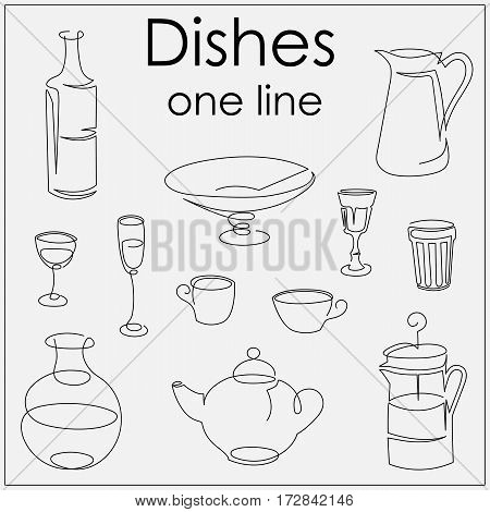 set of objects for the kitchen painted a line