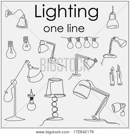 lamps and lighting fixtures by a single line drawn