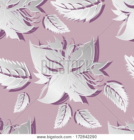 vector seamless grey pattern flowers and floral pattern illustration