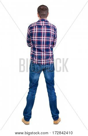 Back view of handsome man in checkered shirt  looking up.   Standing young guy in jeans. Rear view people collection.  backside view of person.  Isolated over white background.