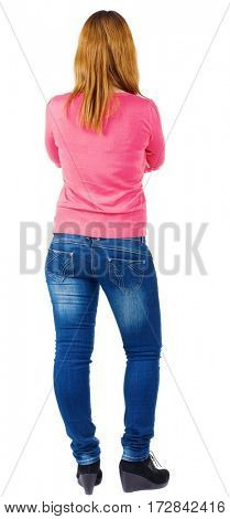 back view of standing beautiful brunette woman . Young girl in jeans .  Rear view people collection.  Isolated over white background.  backside view of person.  Isolated over white background.