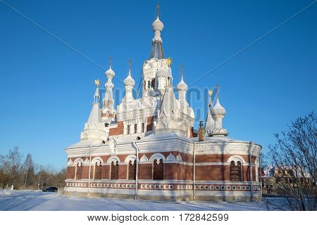 Nicholas The Wonderworker's temple in the sunny February afternoon. Vicinities of St. Petersburg