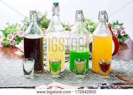 Coctails In Glassy Bottles And Glass