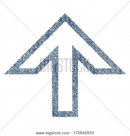 Arrow Up vector textured icon for overlay watermark stamps. Blue jeans fabric vectorized texture. Symbol with dust design. Blue ink rubber seal stamp with fiber textile structure.