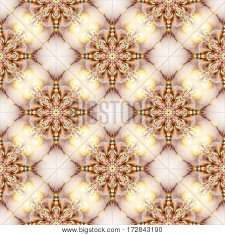 Exotic Flowers In Golden And Grey Colors. Abstract Seamless Pattern On White Background. Fantasy Fra