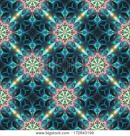 Exotic Flowers In Blue, Beige And Orange Colors. Abstract Seamless Pattern. Fantasy Fractal Art. 3D