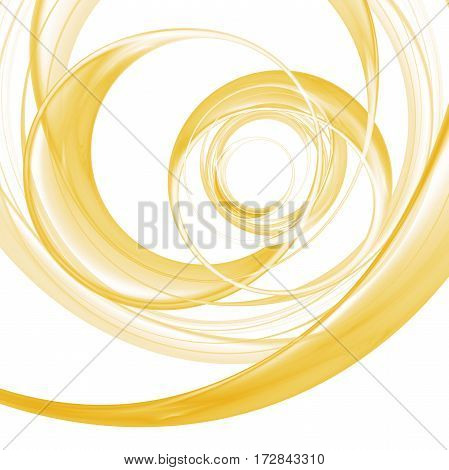 Abstract Colorful Golden Swirly Lines On White Background. Fantasy Fractal Design. Digital Art. 3D R
