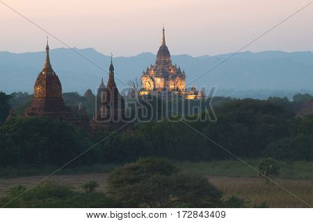 Twilight in ancient Bagan. A view of the top of the temple Gawdaw Palin. Myanmar