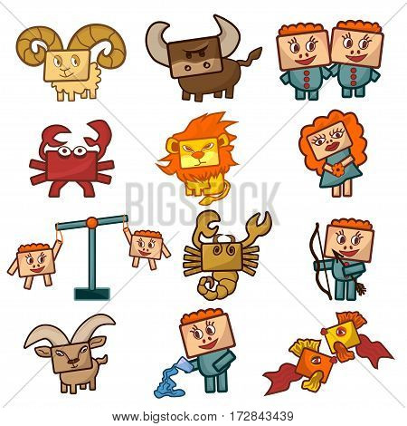 Cartoon Zodiac signs. Set of Vector illustrations of cute funny cheerful zodiacs with rectangular faces