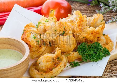 Fried Squid Rings With Green Hot Spicy Sauce, Thai Cuisine