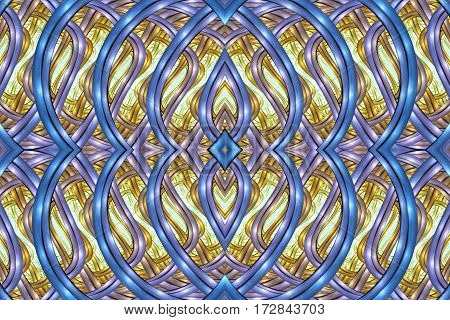Abstract Intricate Symmetrical Ornament In Blue And Yellow Colors. Seamless Fractal Texture. Digital