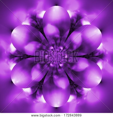 Abstract Exotic Flower. Psychedelic Mandala Design In Purple Colors. Fantasy Fractal Art. 3D Renderi