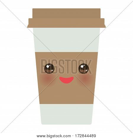 Take-out coffee in Paper thermo coffee cup with brown cap and cup holder. Kawaii cute face with eyes and smile Isolated on white background. Vector illustration