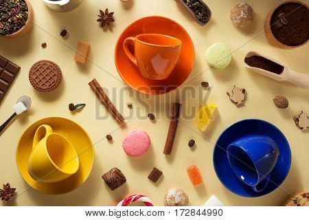 empty cup of coffee and tea at yellow background