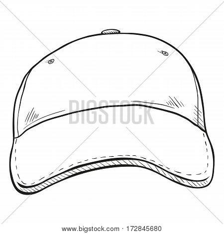 Vector Sketch Classic Blank Baseball Cap.