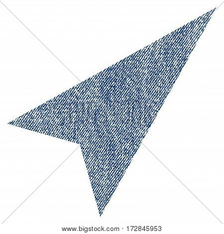 Arrowhead Right-Up vector textured icon for overlay watermark stamps. Blue jeans fabric vectorized texture. Symbol with unclean design. Blue ink rubber seal stamp with fiber textile structure.