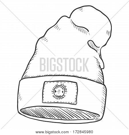 Vector Sketch Winter Textile Cap With Label
