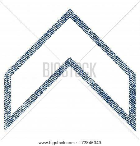 Arrowhead Up vector textured icon for overlay watermark stamps. Blue jeans fabric vectorized texture. Symbol with scratched design. Blue ink rubber seal stamp with fiber textile structure.