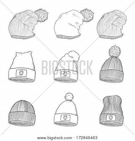 Vector Set Of Sketch Winter Caps
