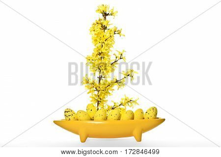 Vase as an abstract boat with Easter eggs and forsythia. Easter abstract decoration.