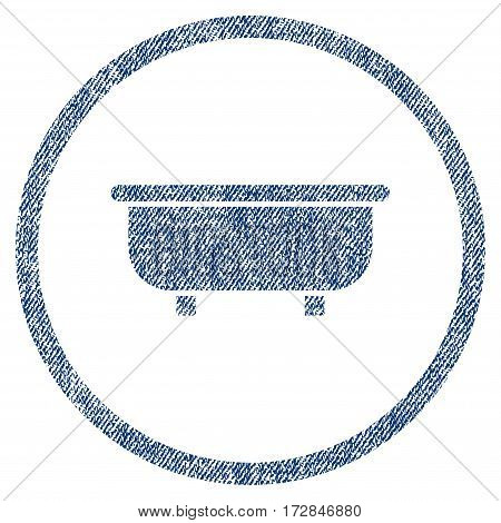 Bathtub vector textured icon for overlay watermark stamps. Blue jeans fabric vectorized texture. Symbol with dust design. Blue ink rubber seal stamp with fiber textile structure.
