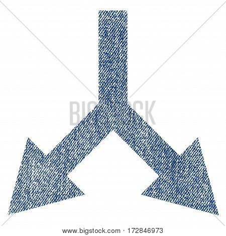 Bifurcation Arrow Down vector textured icon for overlay watermark stamps. Blue jeans fabric vectorized texture. Symbol with dust design. Blue ink rubber seal stamp with fiber textile structure.