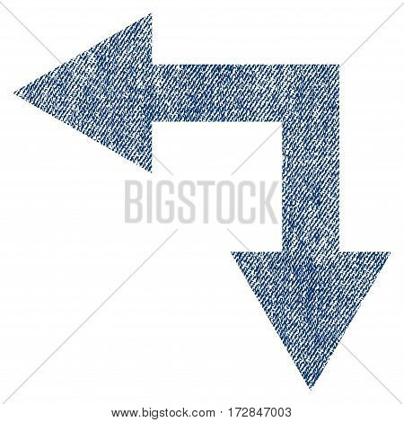 Bifurcation Arrow Left Down vector textured icon for overlay watermark stamps. Blue jeans fabric vectorized texture. Symbol with scratched design.