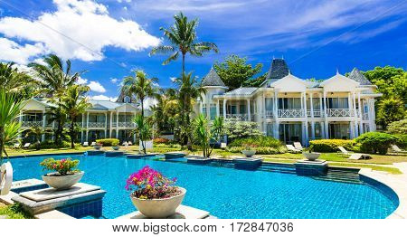 Tropical vacations. gorgeous swimming pool. Mauritius island
