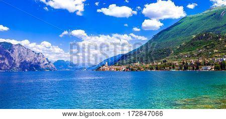 Beautiful lake Lago di Garda. View of Malcesine town. Italy