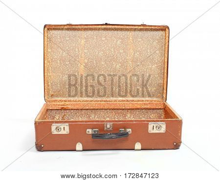 Retro style travel bag on white background. Essential accessory for travelers.