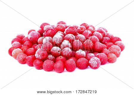 Frozen red sea-buckthorn berries isolated on white background.