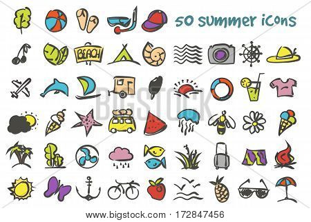 Vector doodle summer icons set. Stock cartoon signs for design.