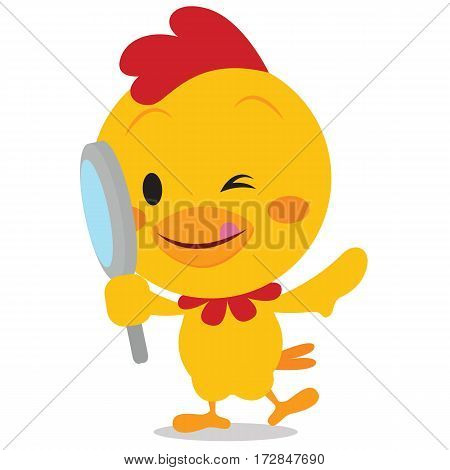 Chick with magnifying vector illustration collection stock