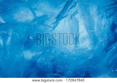 ice background, blue frozen texture