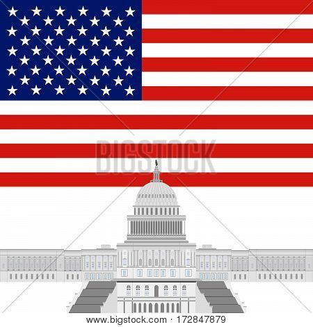 An office building in the United States. The illustration on a white background.