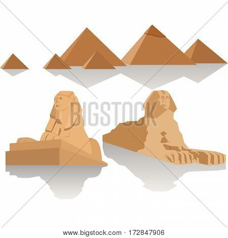 Sculpture Sphinx and the Egyptian pyramids. The illustration on a white background.